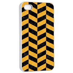 Chevron1 Black Marble & Orange Colored Pencil Apple Iphone 4/4s Seamless Case (white) by trendistuff