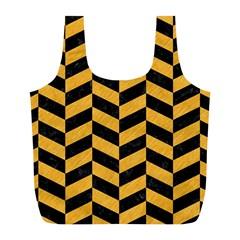 Chevron1 Black Marble & Orange Colored Pencil Full Print Recycle Bags (l)  by trendistuff