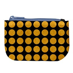 Circles1 Black Marble & Orange Colored Pencil Large Coin Purse by trendistuff