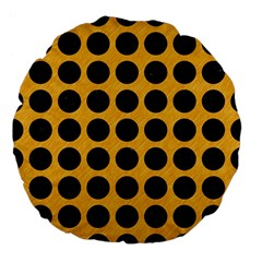 Circles1 Black Marble & Orange Colored Pencil (r) Large 18  Premium Flano Round Cushions by trendistuff