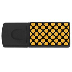 Circles2 Black Marble & Orange Colored Pencil Rectangular Usb Flash Drive by trendistuff