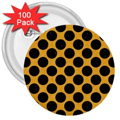 Circles2 Black Marble & Orange Colored Pencil (r) 3  Buttons (100 Pack)  by trendistuff