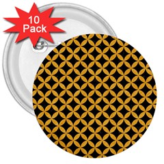 Circles3 Black Marble & Orange Colored Pencil 3  Buttons (10 Pack)  by trendistuff