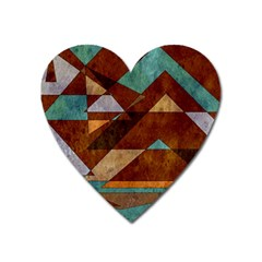 Turquoise And Bronze Triangle Design With Copper Heart Magnet by theunrulyartist