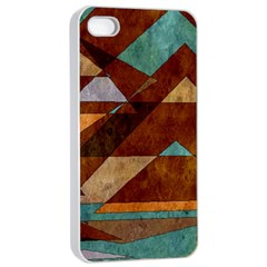 Turquoise And Bronze Triangle Design With Copper Apple Iphone 4/4s Seamless Case (white) by theunrulyartist