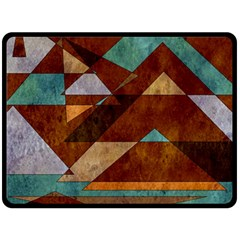 Turquoise And Bronze Triangle Design With Copper Double Sided Fleece Blanket (large)  by theunrulyartist