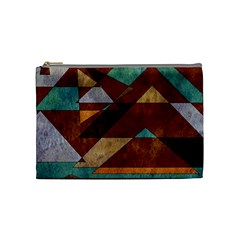 Turquoise And Bronze Triangle Design With Copper Cosmetic Bag (medium)  by theunrulyartist