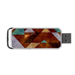 Turquoise And Bronze Triangle Design With Copper Portable Usb Flash (two Sides) by theunrulyartist