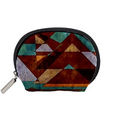 Turquoise And Bronze Triangle Design With Copper Accessory Pouches (small)  by theunrulyartist