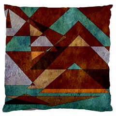 Turquoise And Bronze Triangle Design With Copper Standard Flano Cushion Case (one Side) by theunrulyartist