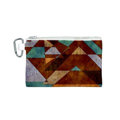 Turquoise And Bronze Triangle Design With Copper Canvas Cosmetic Bag (s) by theunrulyartist