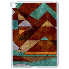 Turquoise And Bronze Triangle Design With Copper Apple Ipad Pro 9 7   White Seamless Case by theunrulyartist