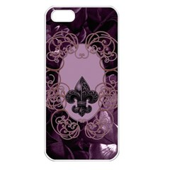 Soft Violett Floral Design Apple Iphone 5 Seamless Case (white) by FantasyWorld7