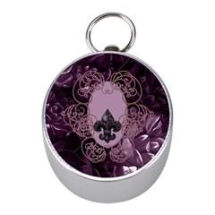 Soft Violett Floral Design Mini Silver Compasses by FantasyWorld7