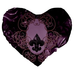 Soft Violett Floral Design Large 19  Premium Flano Heart Shape Cushions by FantasyWorld7