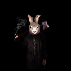 Evil Rabbit Canvas 16  X 16   by Valentinaart