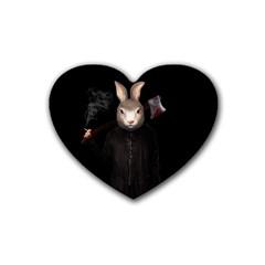 Evil Rabbit Heart Coaster (4 Pack)  by Valentinaart