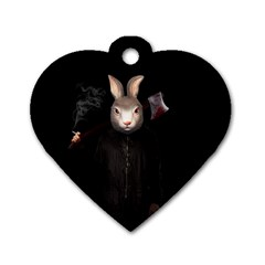 Evil Rabbit Dog Tag Heart (one Side) by Valentinaart