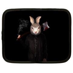 Evil Rabbit Netbook Case (large) by Valentinaart