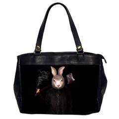 Evil Rabbit Office Handbags (2 Sides)  by Valentinaart