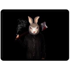 Evil Rabbit Fleece Blanket (large)  by Valentinaart