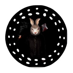 Evil Rabbit Ornament (round Filigree) by Valentinaart
