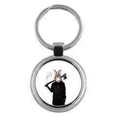 Evil Rabbit Key Chains (round)  by Valentinaart