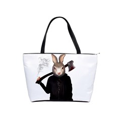 Evil Rabbit Shoulder Handbags by Valentinaart