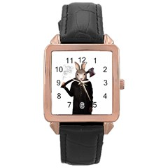 Evil Rabbit Rose Gold Leather Watch  by Valentinaart