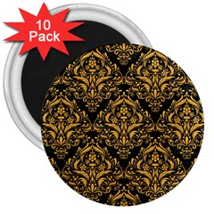 Damask1 Black Marble & Orange Colored Pencil 3  Magnets (10 Pack)  by trendistuff