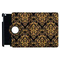 Damask1 Black Marble & Orange Colored Pencil Apple Ipad 3/4 Flip 360 Case by trendistuff