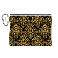 Damask1 Black Marble & Orange Colored Pencil Canvas Cosmetic Bag (l) by trendistuff