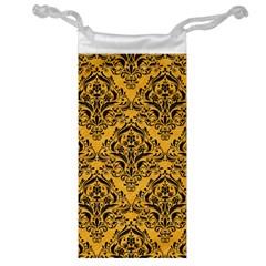 Damask1 Black Marble & Orange Colored Pencil (r) Jewelry Bag by trendistuff