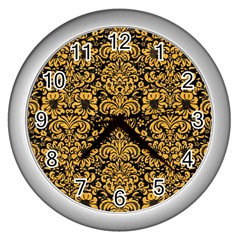 Damask2 Black Marble & Orange Colored Pencil Wall Clocks (silver)  by trendistuff