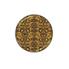 Damask2 Black Marble & Orange Colored Pencil (r) Hat Clip Ball Marker by trendistuff