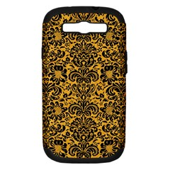 Damask2 Black Marble & Orange Colored Pencil (r) Samsung Galaxy S Iii Hardshell Case (pc+silicone) by trendistuff