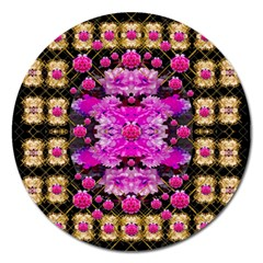 Flowers And Gold In Fauna Decorative Style Magnet 5  (round) by pepitasart
