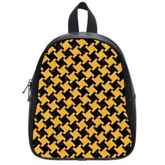 Houndstooth2 Black Marble & Orange Colored Pencil School Bag (small) by trendistuff
