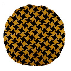Houndstooth2 Black Marble & Orange Colored Pencil Large 18  Premium Round Cushions by trendistuff