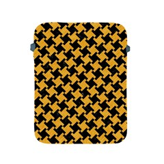 Houndstooth2 Black Marble & Orange Colored Pencil Apple Ipad 2/3/4 Protective Soft Cases by trendistuff