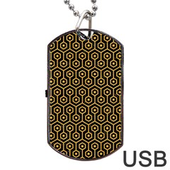 Hexagon1 Black Marble & Orange Colored Pencil Dog Tag Usb Flash (one Side) by trendistuff