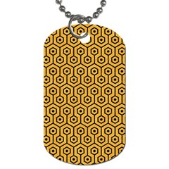 Hexagon1 Black Marble & Orange Colored Pencil (r) Dog Tag (two Sides) by trendistuff