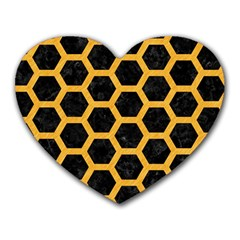 Hexagon2 Black Marble & Orange Colored Pencil Heart Mousepads by trendistuff