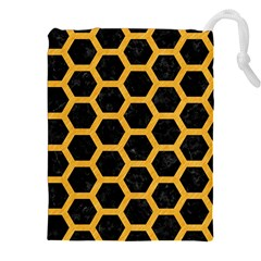 Hexagon2 Black Marble & Orange Colored Pencil Drawstring Pouches (xxl) by trendistuff