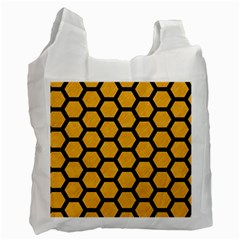 Hexagon2 Black Marble & Orange Colored Pencil (r) Recycle Bag (two Side)  by trendistuff