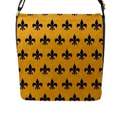 Royal1 Black Marble & Orange Colored Pencil Flap Messenger Bag (l)  by trendistuff