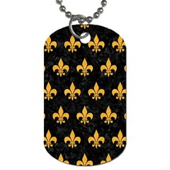 Royal1 Black Marble & Orange Colored Pencil (r) Dog Tag (two Sides) by trendistuff