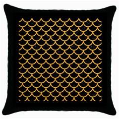 Scales1 Black Marble & Orange Colored Pencil Throw Pillow Case (black) by trendistuff