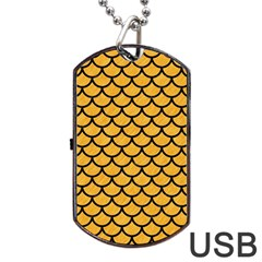 Scales1 Black Marble & Orange Colored Pencil (r) Dog Tag Usb Flash (one Side) by trendistuff
