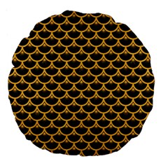 Scales3 Black Marble & Orange Colored Pencil Large 18  Premium Flano Round Cushions by trendistuff